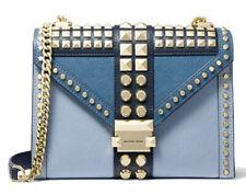 Michael Kors Studded Leather Powder Blue Whitney Shoulder Bag NWT $358