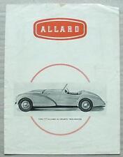 ALLARD Car Range USA Sales Brochure 1950 K2 Sports J2 Competition 2 Seater