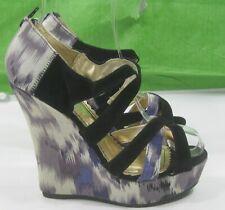 "New Ladies Purple / MultiColor 5.5 ""Wedge Heel 1.5"" Open Toe Ankle Sexy Size 6.5"