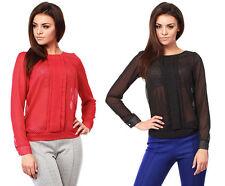 Gepunktete Damen-Blusen klassische Damenblusen, - tops & -shirts ohne Kragen