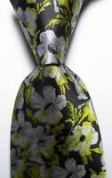 New Classic Floral Black Green Gray JACQUARD WOVEN 100% Silk Men's Tie Necktie
