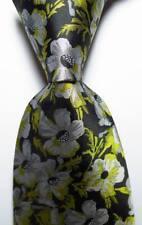 New Classic Floral Black Green Gray JACQUARD WOVEN 100% Silk Men's Tie Necktie