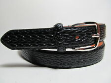 "Men Black Leather Belt with Silver Buckle S 30 - 32"" #2120"