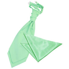 Mens Cravat & Hanky Set Satin Plain Solid Mint Green Wedding Pre-Tied by DQT