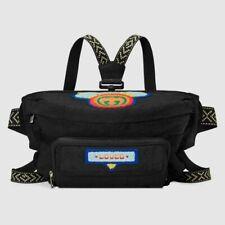 NEW GUCCI $1799 Nylon 80s Logo Patch Black Convertible Belt Bag AUTHENTIC