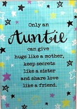 "SENTIMENTAL GLASS PLAQUE ""AUNTIE"" WITH INSPIRATIONAL VERSE LOVELY GIFT BNIB"