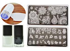2Pcs BORN PRETTY Nail Art Stamping Plates & Stamping Polish & Stamper&Scraper
