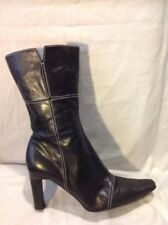 Next Black Mid Calf Leather Boots Size 38