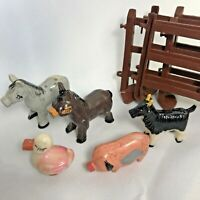 VINTAGE MARX LAZY DAY FARM ANIMALS FIGURES LOT And Plastic Animal Fenced Pen