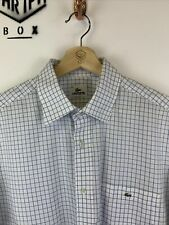 LACOSTE, Mens Size L (41), White/Blue Check, Small Logo, Reg Fit SS Shirt,*GC*