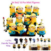 Despicable Me Minions 12 Pc Mini Figures +Free 12 Pc Cupcake Topper Picks-24/set