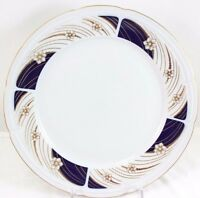 TWO (2) WEIMAR GERMANY CHINA LARGE SERVING PLATTERS CHARGERS COBALT BLUE GOLD