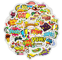 Pop Art, Comic Book Words Sticker Pack Colorful PVC Vinyl Decals Lot Waterproof