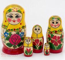 Russian Matryoshka Babushka Wooden nesting dolls toy hand painted 5pcs