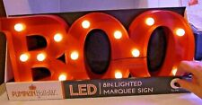 Pumpkin Hollow Halloween Boo Marquee Sign Orange Light Up LED Lights Window S...