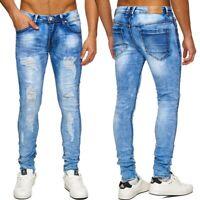 Uomo Jeans taglio Destroyed Denim Lacerato Cout fuori strappato sfilacciato