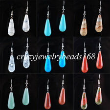 Natural Gem Stone Teardrop Beads Dangle Earrings Pair Charm Women Jewelry BR320