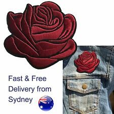 Dark red Rose head Iron on patch red shining love flower blossom iron-on patches