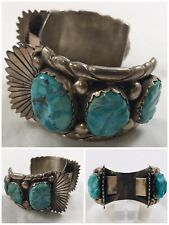 Silver Deep Blue Turquoise Watchcuff Vintage Navajo Foster Yazzie Large sterling