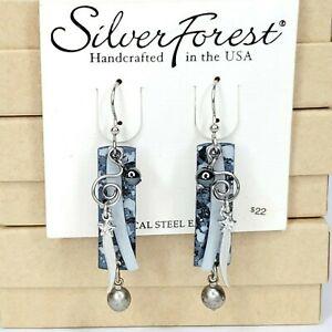 Silver Forest Earrings Gray Black Silver Dangle Rectangle Swirl Star Bead 3-Laye