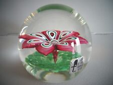 FRATELLI TOSO Murano Glass Paperweight Lampwork FLOWER w/ Label