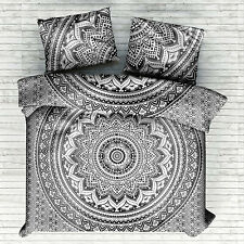 Cotton Queen Duvet Cover With Two Pillow Cover Grey Color Flower Ombre Mandala