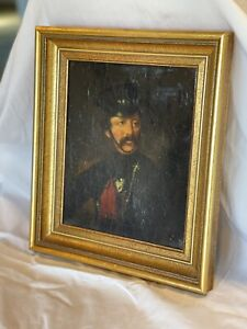 Small Vintage Military Gentleman Portrait Painting Wood Frame