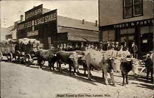 Laramie WY Rapid Transit Oxen Pulling Wagons Storefronts c1915 Postcard