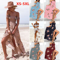Fashion Womens Beach Dress Boho Holiday Off Shoulder Floral Maxi Summer Big Size