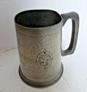 Antique Pewter Fylfot 1 Pint Tankard