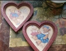 Vintage Home Interiors Homco Heart Shaped Teddy Bear Wall Plaques Set Americana