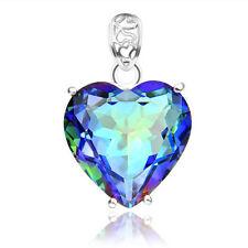 Romantic Love Heart Shaped Rainbow Mystical Fire Topaz Silver Necklace Pendants