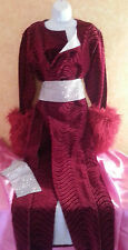 Luxe Burgundy Kimono Style Velvet Wave Maxi Coat Faux Fur Cuffs & Bling Belt