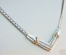 BEAUTIFUL GENUINE DIAMOND 2 TONE NECKLACE 17 INCHES NEW