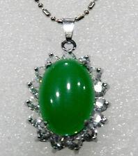 """13X18mm Green Jade Oval Bead inlay pendant(20x25mm) necklace 18""""AAA Grade"""