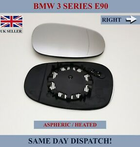 FOR BMW 3 SERIES E90 2008-12 WIDE ANGLE WING MIRROR GLASS ASPHERIC HEATED RIGHT