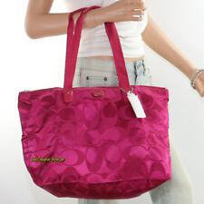 🌸🌸NWT Coach Getaway Signature Nylon Packable Weekender Tote Bag F77321 Fuchsia