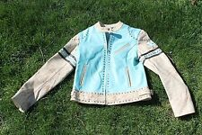 womens M WILSONS LEATHER MAXIMA aqua Leather motorcycle jacket STUDDED cropped