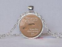 Vintage footprints Cabochon Tibetan silver Glass Chain Pendant Necklace