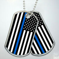 Thin Blue Line Flag Army Dog Tag Military Keychain Necklace Stainless Steel Gift