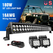 """Nilight 32"""" Inch Curved LED Light Bar Combo + 4PCS 4"""" OffRoad Lighting for Jeep"""
