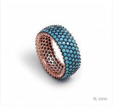 nano turquoise gemstone ring sterling silver rose gold plated Uk P/N/L