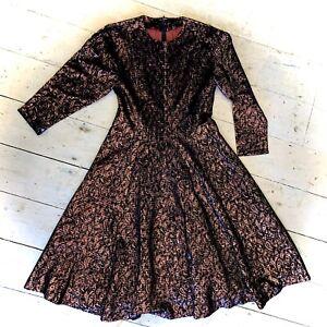 Vintage 1970's Brocade Lurex Sparkly Handmade Evening Dress Size 14
