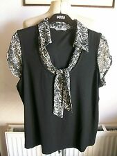 Black Mix Short Sleeve Top with Tie Neck with Stretch, Size 18, M&S