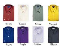 MEN'S BASIC DRESS SHIRT COTTON BLEND STANDARD CUFF MANY COLORS SG 02