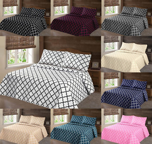 2/3PC LANCASTER GEOMETRIC BED BEDSPREAD QUILT SET COVERLET MODERN  IN ALL SIZES