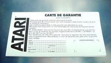vintage carte de garantie atari