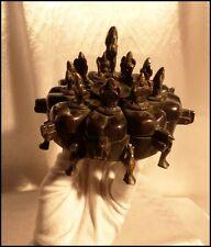 Népal Ancien XIXe Coffret à Épices Népalais en Bronze orné de Divinités Ganesh