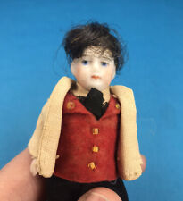 Miniature Dollhouse Antique German Bisque Edwardian 1910 Boy Doll 1:12