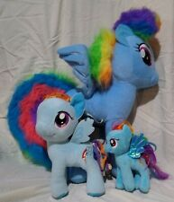 Lot of 3 My Little Pony Rainbow Dash Plush Stuffed Blue Ponies
